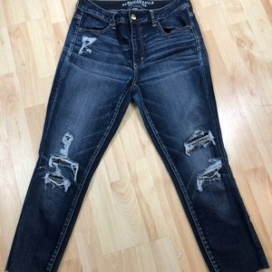 Jeans skinny rips raw hem lining under rips